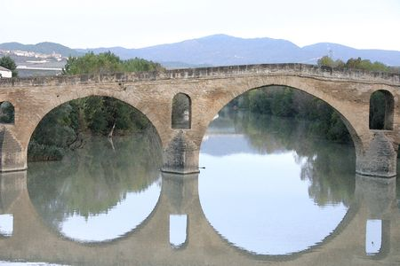 Water Color of the bridge in Puente La Reina Navarra Spain Stock Photo - 630910