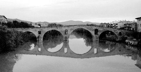 Water Color of the bridge in Puente La Reina Navarra Spain, b/w Stock Photo - 630909