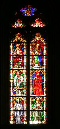 satined: satined glass window in Pamplona Cathedral, Spain, Europe