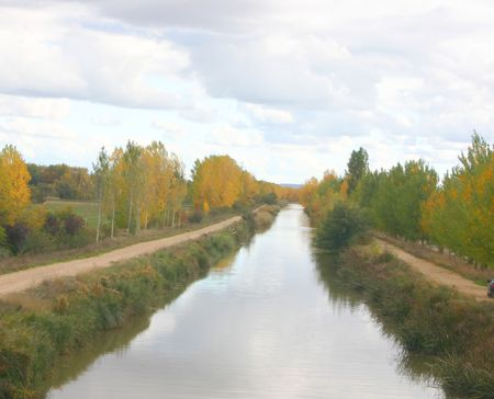 castilla: Footh path alongside the canal de Castilla, Palencia, Spain, plenty of copy space