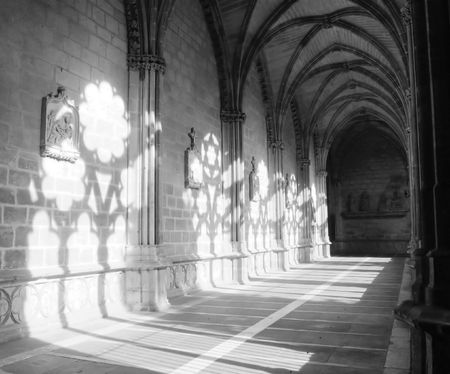 abbey: light and shade in the cloister of Pamplona Cathedral Editorial