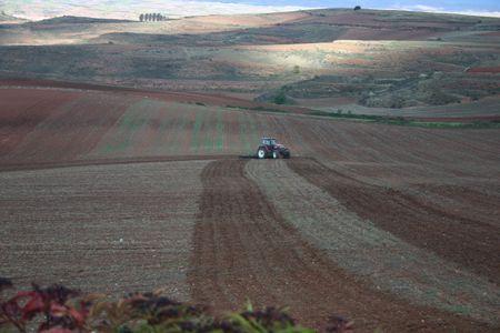 ploughing: farmer ploughing fields, emphasis on fields, La Rioja, Spain Stock Photo