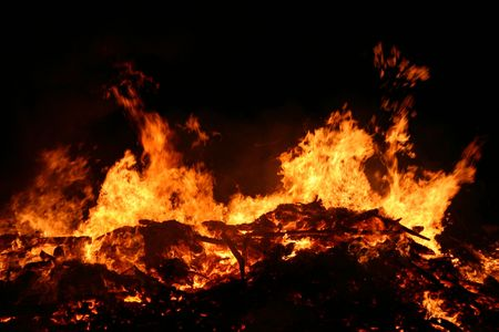guy fawkes night: bonfire at Guy Fawkes night, traditionally used in England to get rid of (garden) rubbish Stock Photo