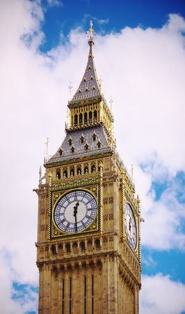 Big Ben with fluffy white clouds and blue sky Stock Photo