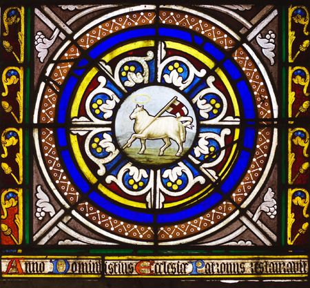 protestant:  Window picturing the lamb of God carrying the english flag in Chetwode Parish Church (former Abbey) in Buckinghamshire, England