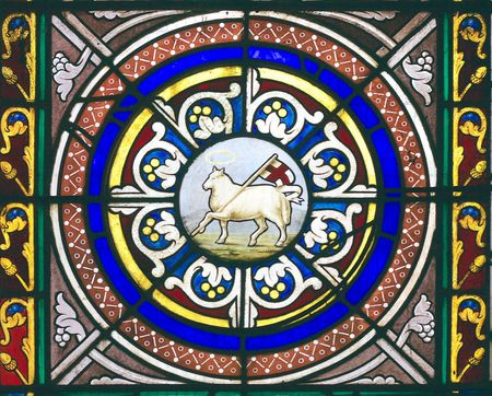 Window picturing the lamb of God carrying the english flag in Chetwode Parish Church (former Abbey) in Buckinghamshire, England