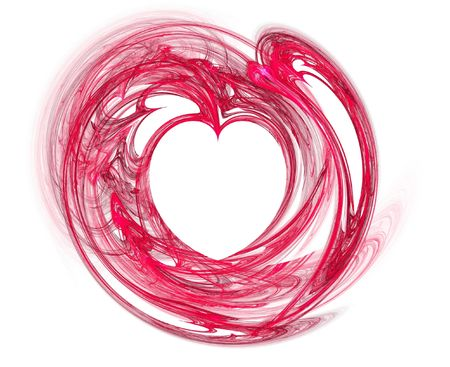 very smooth red fractal heart over white Stock Photo - 886339
