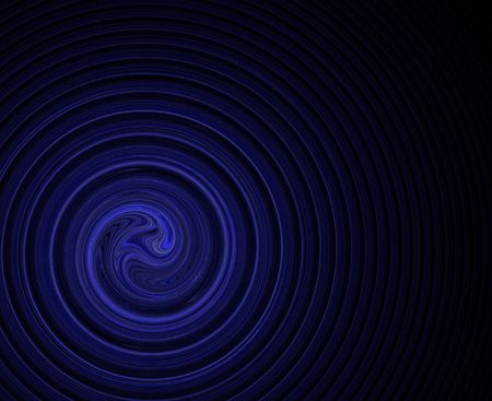 loopy: swirl or spiral in corner over black background, plenty of copy space Stock Photo