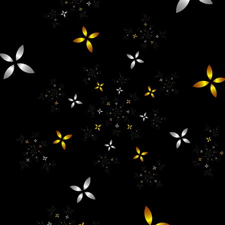 gold plaque: many fractal flowers in gold and silver forming a spiral over black background
