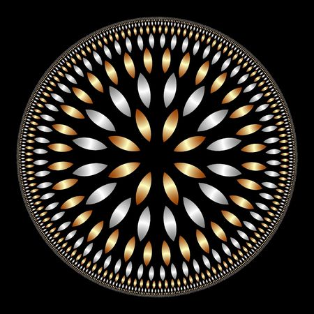 many petals in gold and silver forming a mandala or flower over black background photo