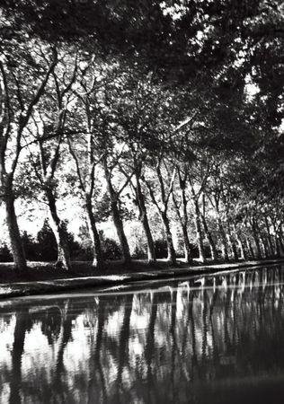midi: bw of Canal du Midi, France Stock Photo