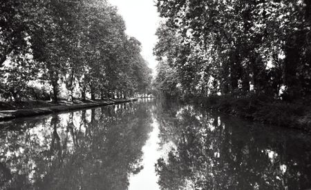 b/w of Canal du Midi, France Stock Photo - 1318743