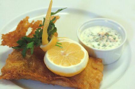 par: Fish `n Chips is the english british dish par excellence here with sauce gribiche in a ramekin