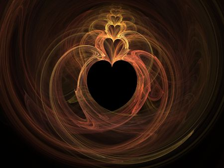 flickering: high resolution flame fractal forming multiple hearts