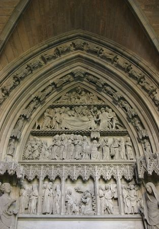 annunciation: St. Marys door of Pamplona Cathedral, Spain