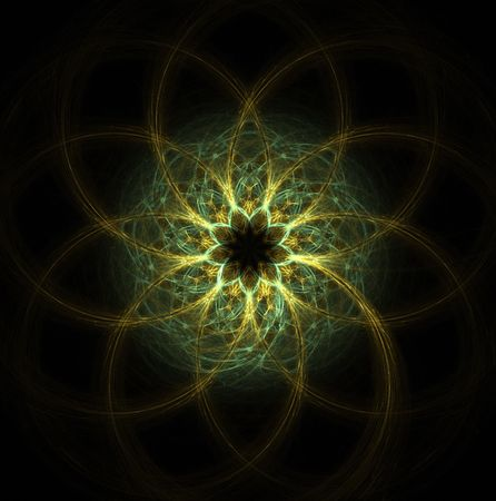 symetric: high resolution flame fractal forming a mandala that resembles an eye or flower Stock Photo
