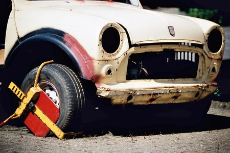 clamped: clamped wrecked car