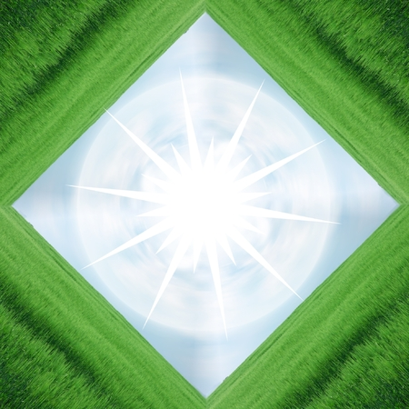 frame of green field and blue sky with white star in center, plenty of copy-space, composite Stock Photo - 1479539