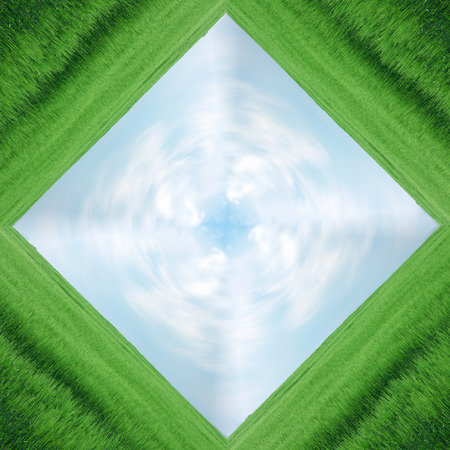 frame of green field and blue sky, plenty of copy-space, composite Stock Photo - 1479554