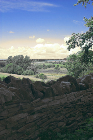 drystone: typical english landscape with medieval drystone wall in Oxfordshire Stock Photo