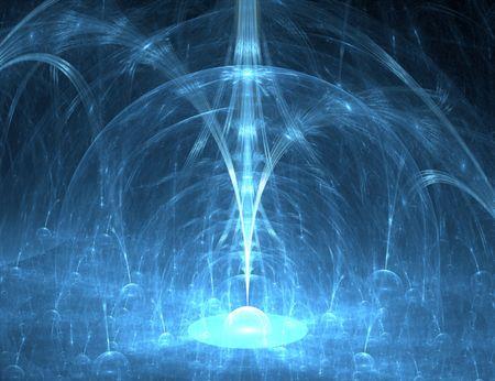 fractal resembling a blue 3d fountain photo