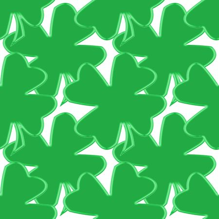 seamless tillable background with clover leaves for St. Patricks day isolated over white Stock Photo - 2510502