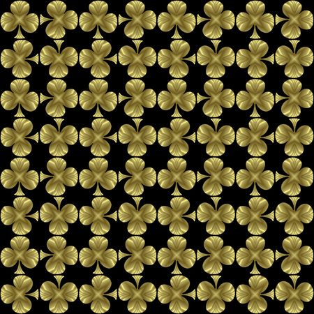 seamless tileable black and golden background tile with many little golden shamrocks/ clovers suitable for St. Patricks day.. Stock Photo - 3089961