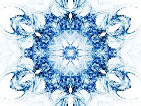 Kaleidoscopic image that resembles a mandala, chakra or abstract flower. Stock Photo