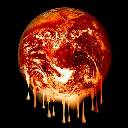 photoshopped image (based on a Nasa public domain image) of a red hot glowing, melting like wax earth isolated on a black background, global warming concept