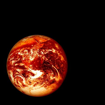 environmental science: photoshopped image of a red hot glowing, burning earth, global warming concept