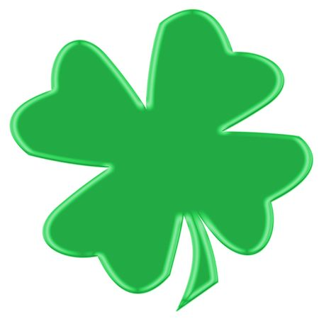 Single clover leaves or shamrock for St. Patricks day isolated over white Stock Photo - 3089875