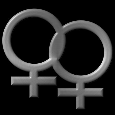 tough woman: two brushed silver female signs that are intertwinned, isolated over black