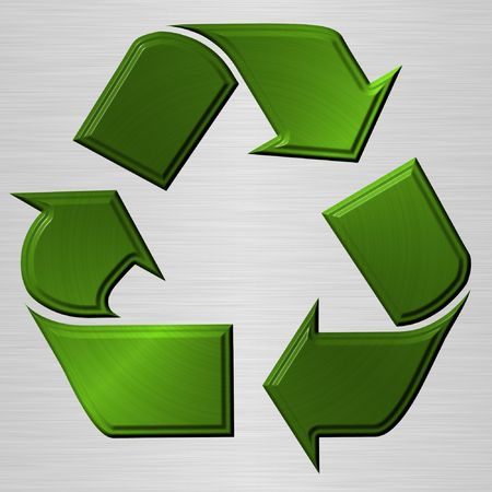 recycling logo: green recycling sign over brushed metallic background