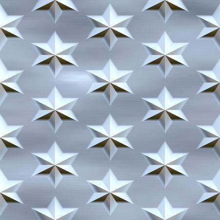 diamondplate: blue stars over brushed background, seamlessly tillable Stock Photo