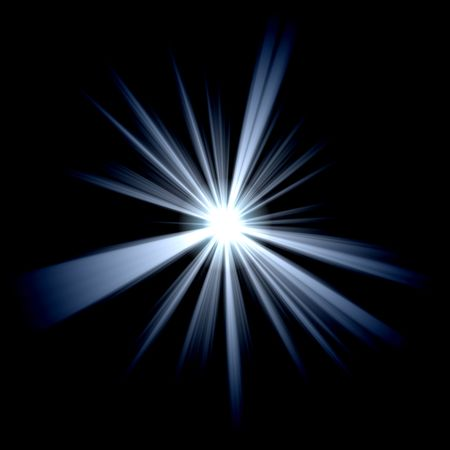 yule tide: white blue star over black Stock Photo