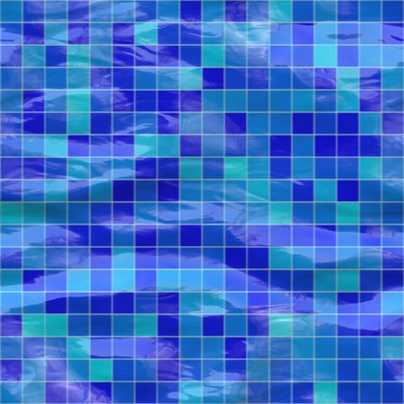 structured: blue ceramic tiles submerged under water, seamlessly tillable Stock Photo
