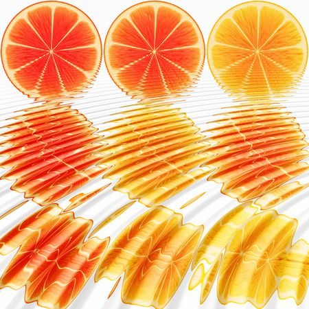 nine orange slices, submerged in water Stock Photo - 3808025