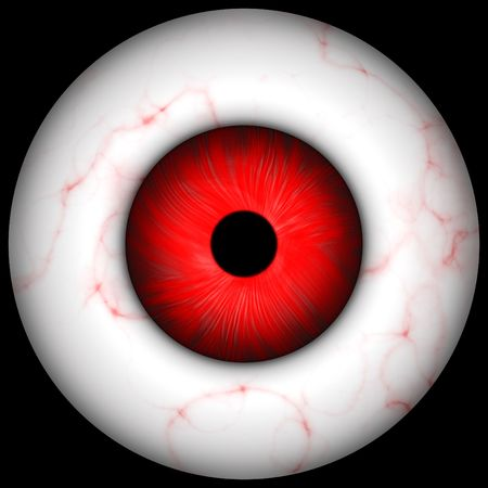bloodshot: red creepy, scary  eye over black, great for halloween ;-) Stock Photo