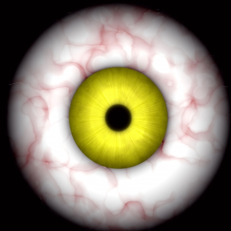 bloodshot: yellow creepy, scary  eye over black, great for halloween ;-)