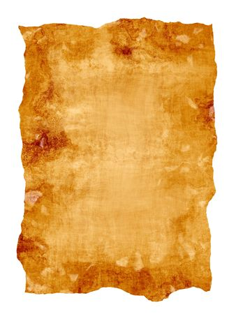 old paper or parchment document isolated over white photo