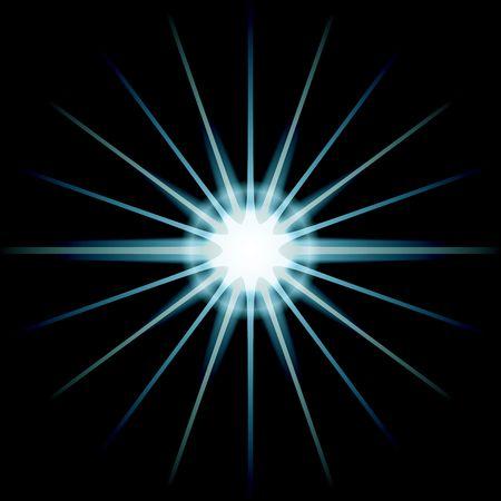 white blue star over black photo