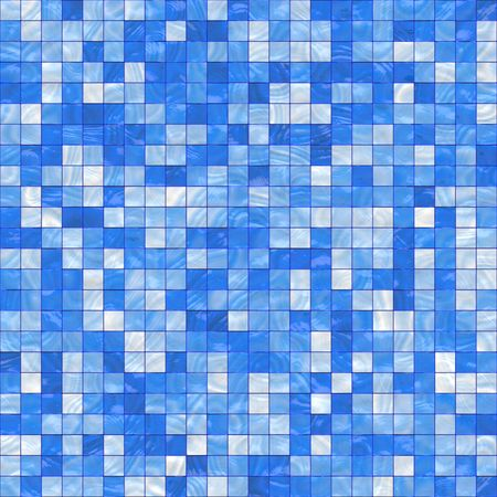 tileable: smooth irregular blue background of bathroom or swimming pool tiles or wall, tiles seamlessly as a pattern Stock Photo