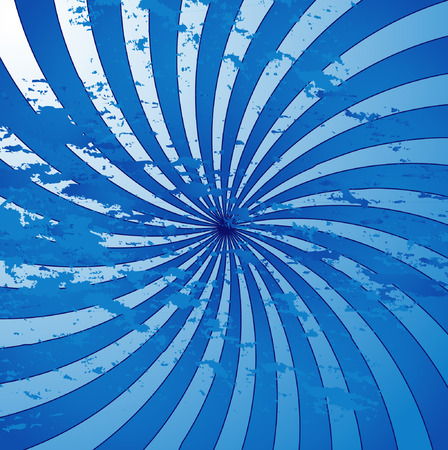 swirly blue grunge retro style sunburst Vector