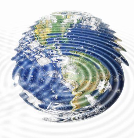 continente americano: ondas de agua y la tierra imagen (continente americano), combinada, el medio ambiente, el calentamiento global concepto