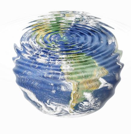 ripple effect: water ripples and earth image (American Continent) combined, environmental, global warming concept
