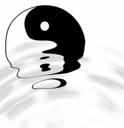 taoisme: yin yang, taoïstische symbool van harmonie en evenwicht met water rimpelingen