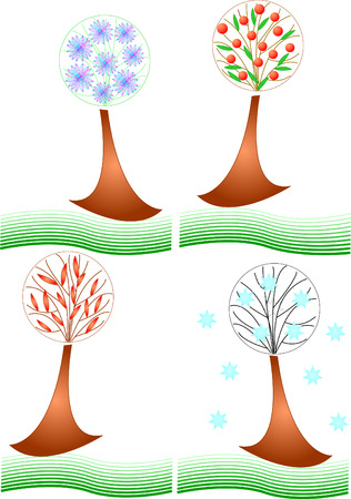 tree in four different seasons Stock Vector - 3853791