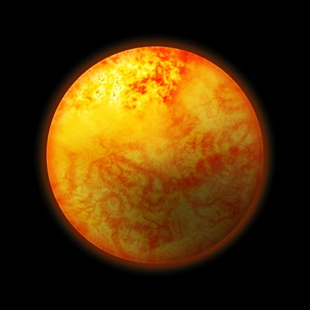 spacial: 3d rendered sun,great as a design element, over a black background