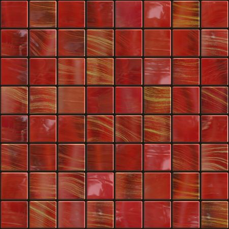 red ceramic tiles with golden sparkles, will tile seamless as a pattern Stock Photo - 3905374