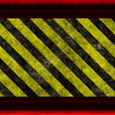 Black and yellow warning  hazard background with red frame photo